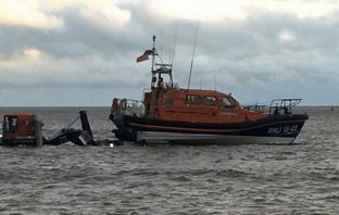 Exmouth RNLI lifeboat R&J Welburn launches to assist in the search. Picture: Chris Sims/RNLI