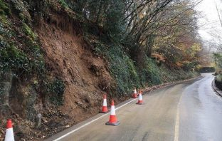A landslip on the A386 at Landcross in Devon.