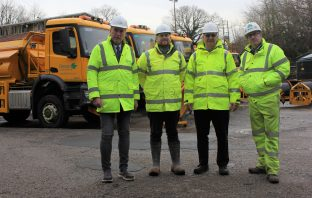(l-r) Councillor Stuart Hughes, Devon County Council cabinet member for highway management, Rob Schofield, highway operations control centre manager, Chris Cranston, highway operations Manager, and Simon Kane, Skanska contract manager.