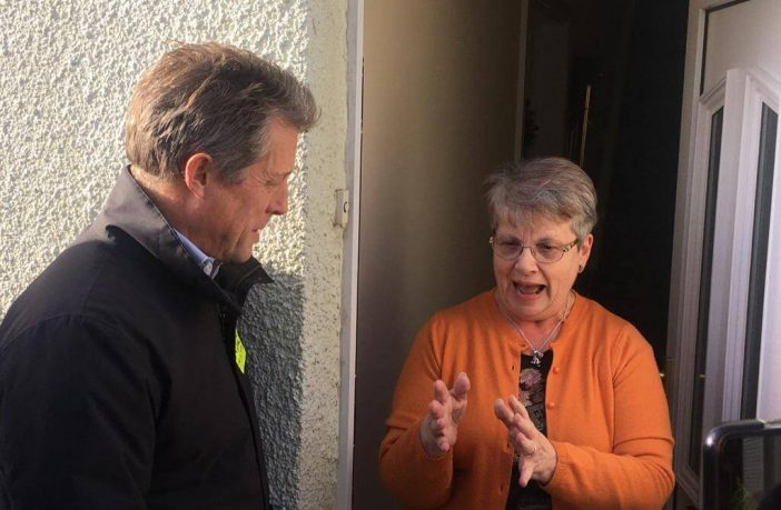 Chatting with a voter on the doorstep. Picture: Daniel Clark