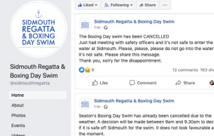 News the Sidmouth Boxing Day Swim had been cancelled was announced on Facebook.