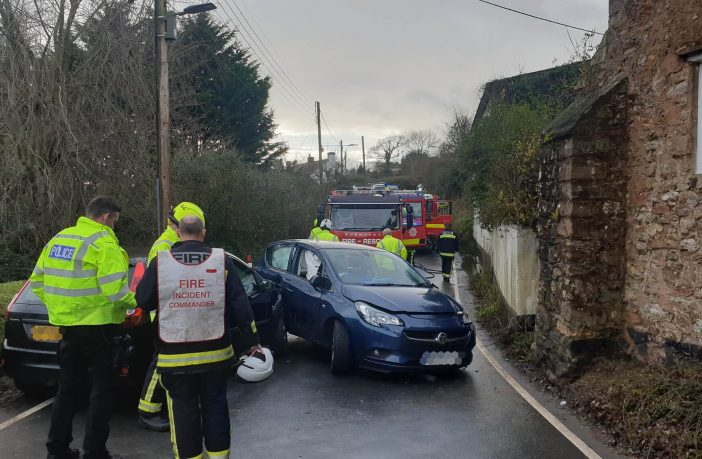 Emergency services at the scene of the collision on the A375 at Sidbury. Picture: Sidmouth Fire Station