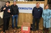 (l-r) Councillors Paul Millar and Joe Whibley with Exmouth Town FC vice-chairman Adam Fitzgerald and Independent prospective parliamentary candidate for East Devon Claire Wright at the entrance to Southern Road where the Operation Exmouth Community Larder box was positioned ahead of the Toolstation Western League meeting with Haley. Picture Martin Cook