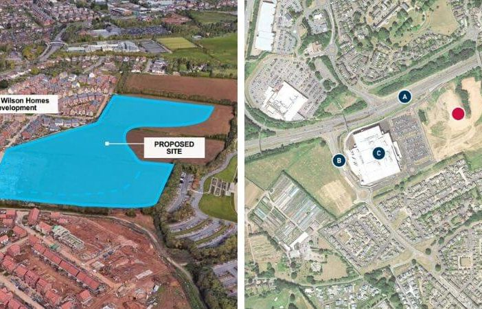 Left - 200 homes are proposed for the Hill Barton area next to the Met Office. Right - A further 200 homes are planned for the Newcourt area next to Ikea in Exeter.