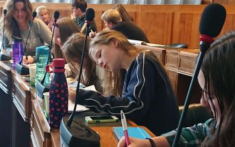 Carbon plan: Around 100 children took part in the event at County Hall in Exeter.