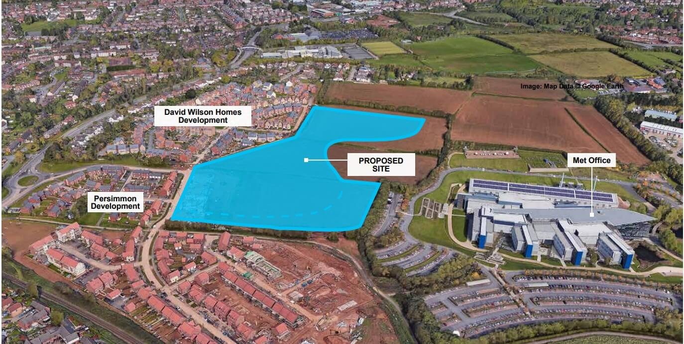 Some 200 homes are proposed for the Hill Barton area next to the Met Office.