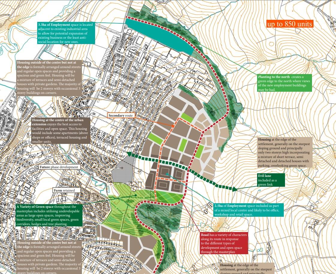 The Masterplan for the Axminster North East Urban Extension. Image: East Devon District Council
