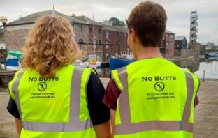 Clyst Vale Community College pupils Daisy Norris and Jack Eynon are on a mission to rid Exeter of discarded cigarette butts.