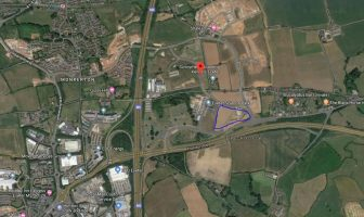 In blue, where the park-and-change site will be located near Exeter Science Park. Image Google Maps.