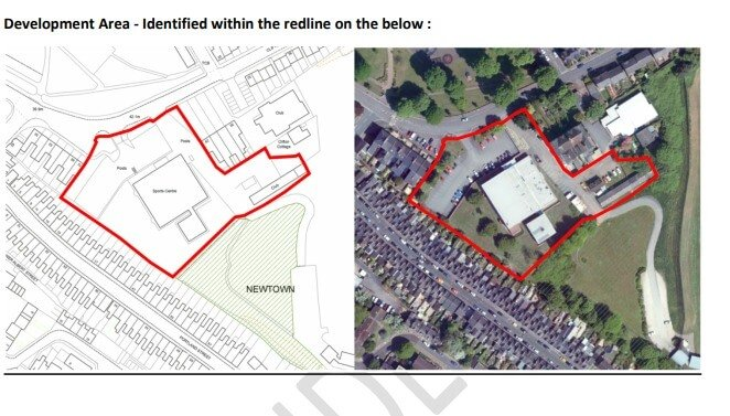 The proposed development area for the Clifton Hill site in Exeter is identified within the red line.