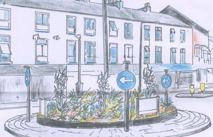An artist's impression of the proposed sculptures on the roundabout in The Parade in the planning application. Image: Exmouth Town Council/Exmouth in Bloom