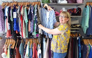 Liz Crosfield volunteering in her local Hospiscare shop in Seaton.