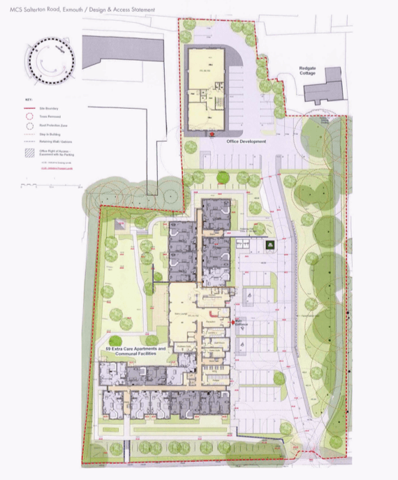Blueprints for the site off Salterton Road in Exmouth featured in the planning application. Image courtesy of Stride Treglown/YourLife Management Services Ltd/McCarthy & Stone