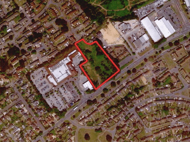 The two-and-a-half-acre plot is next to the Tesco superstore. Image from the planning application, courtesy of Stride Treglown/YourLife Management Services Ltd/McCarthy & Stone