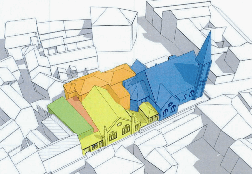 The different colours indicate the different buildings on the site. Tower Street Methodist Church, in blue, does not form any part of the scheme. Image: Hansard Ltd/ Expedite