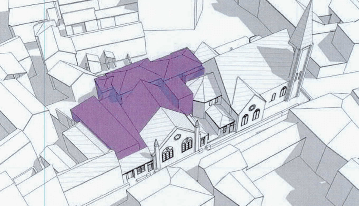 The purple-coloured parts of this artist's impression indicated parts of the building earmarked for demolition. The different colours indicate the different buildings on the site. Tower Street Methodist Church, in blue, does not form any part of the scheme. Image: Hansard Ltd/ Expedite