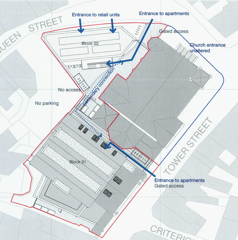 Plans for 20 apartments and two retail units. Image: Hansard Ltd/ Expedite
