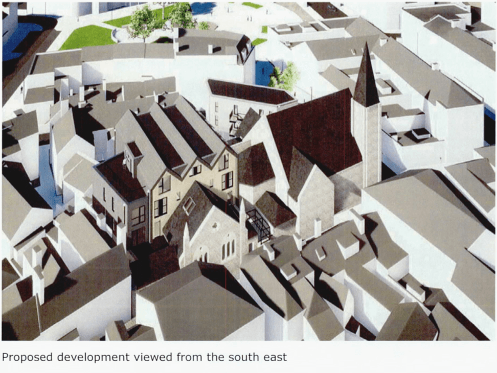 An artist's impressions of the development behind Tower Street Methodist Church in Exmouth. Image: Hansard Ltd/ Expedite