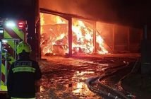 The barn fire in Seaton. Picture: Sidmouth Fire Station