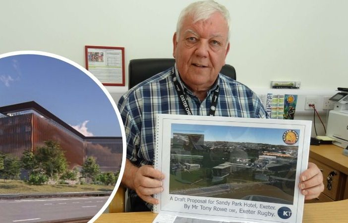 Tony Rowe with plans for the hotel at Sandy Park in Exeter.