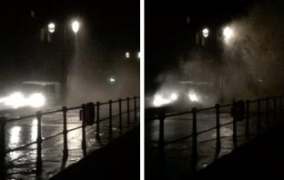 Waves batter Sidmouth seafront during Storm Brendan. Images: Simon Horn LRPS