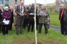 East Devon District Council chairman Stuart Hughes and Richard Halsey, president of Exeter Synagogue lead the tree planting ceremony.