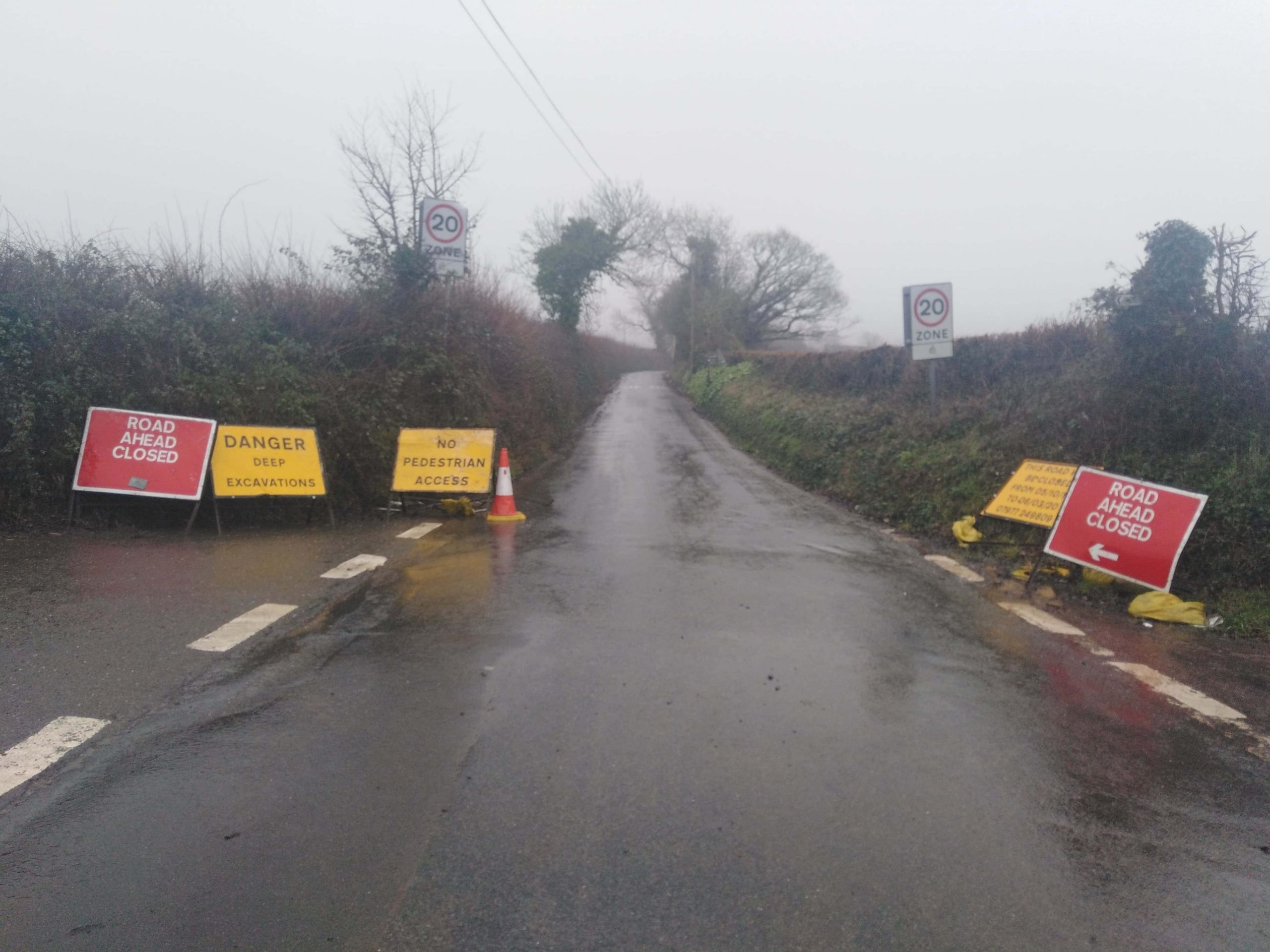 The road closure in Church Hill, Pinhoe, Exeter.