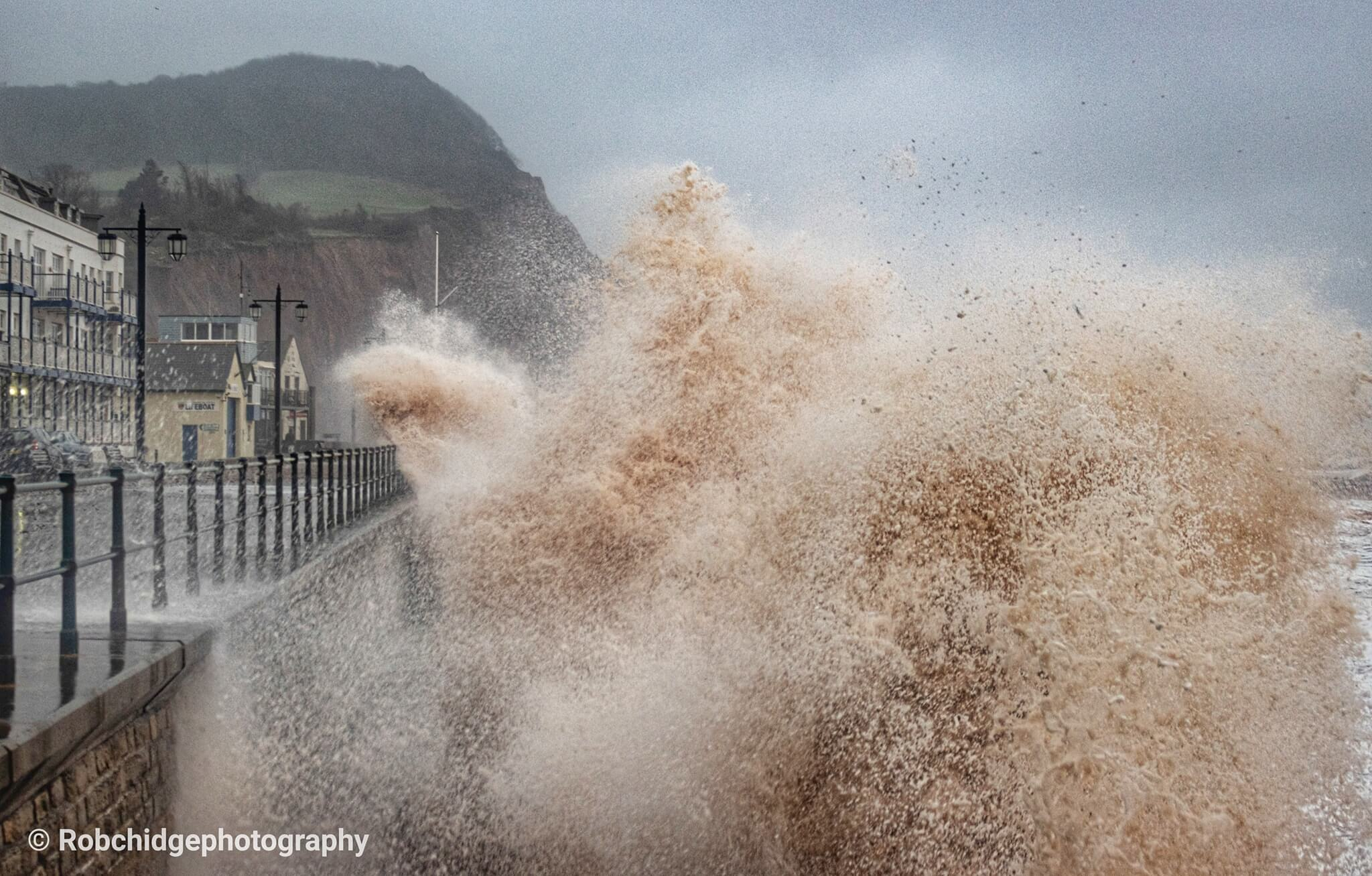 Storm Ciara sweeps into Sidmouth. Photo by Rob Chidgey Photography.