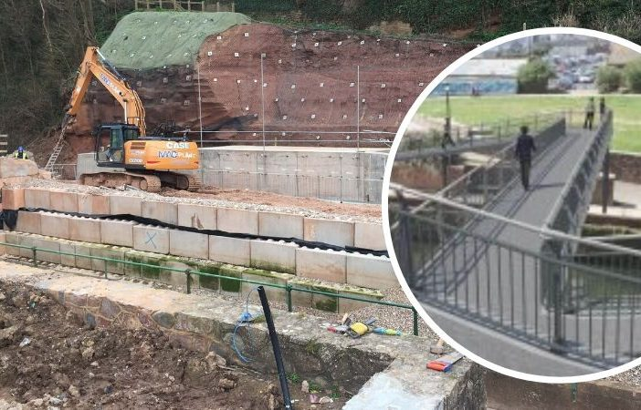 Work is progressing well on the replacement for Alma Bridge in Sidmouth. Pictures: DCC