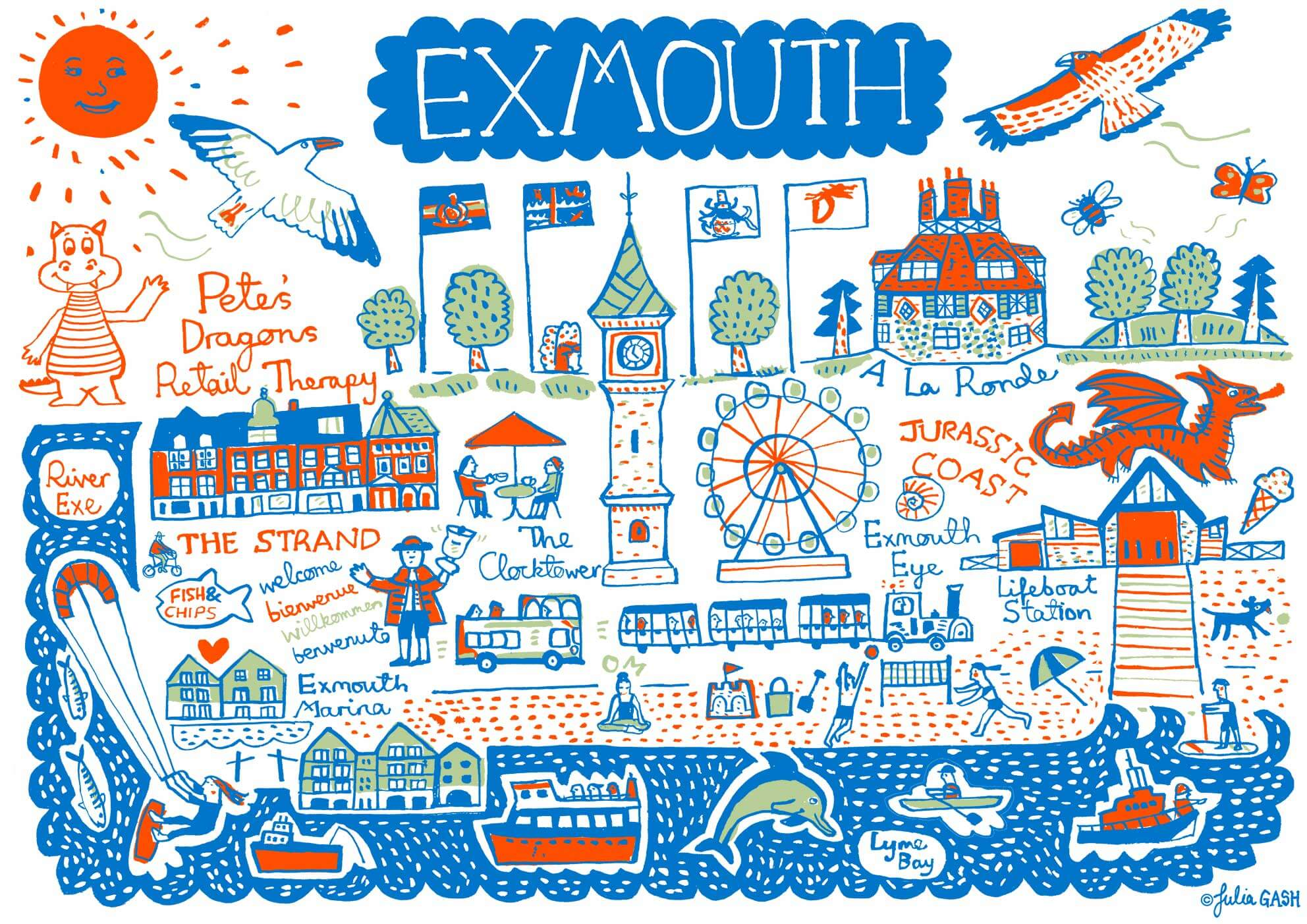 Julia's Exmouth artwork features landmarks and iconic features. Picture: Julia Gash