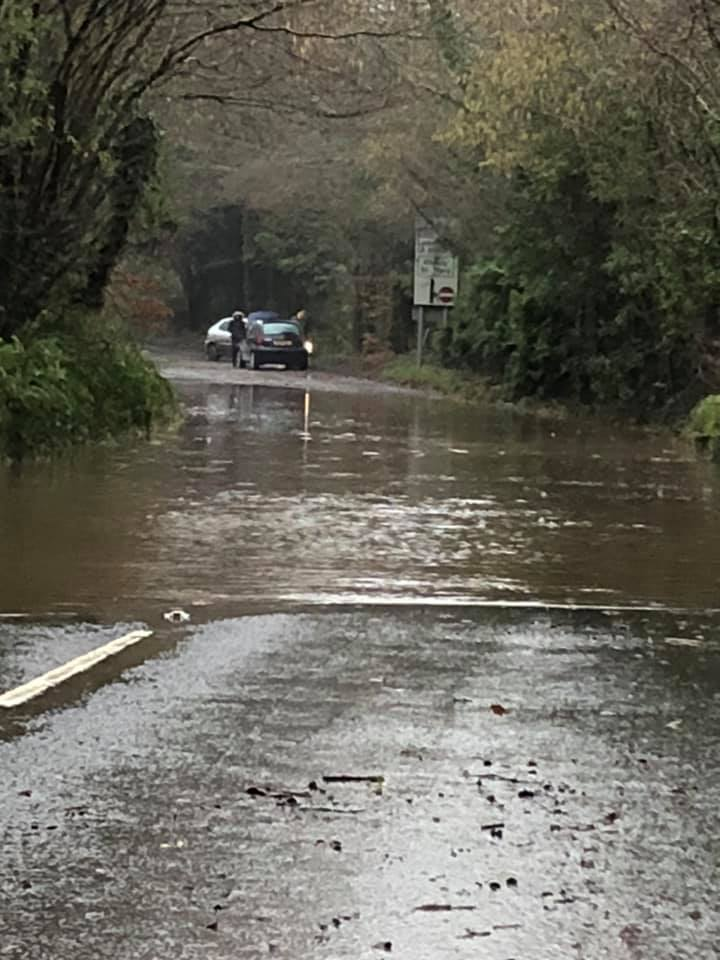 East Devon: Flooded road at The Bowd, Sidmouth. Picture: Laura S Harding