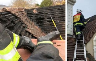 The roof of a bungalow in Beatlands Road was 30 per cent damaged by fire. Pictures: Sidmouth Fire Station