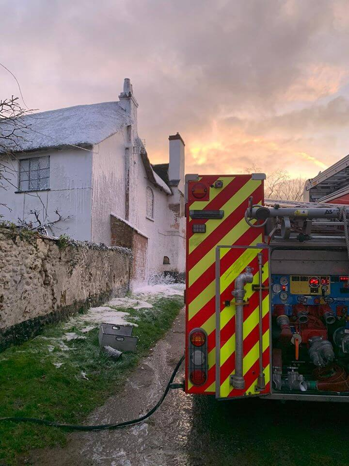 The second callout of the day for Sidmouth fire-fighters was to to a chimney blaze in Fluxton. Picture: Sidmouth Fire Station