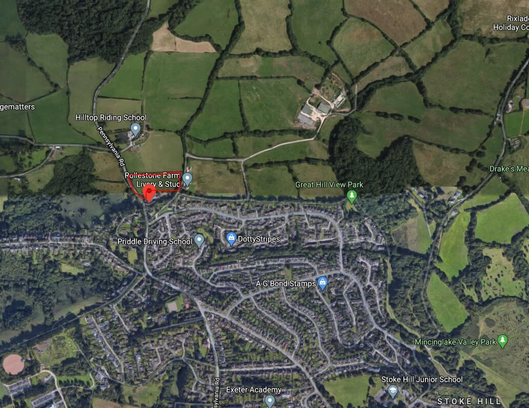 In red, a rough outline of where the 26 homes were planned in Pennsylvania Road in Exeter. Picture: Google Maps