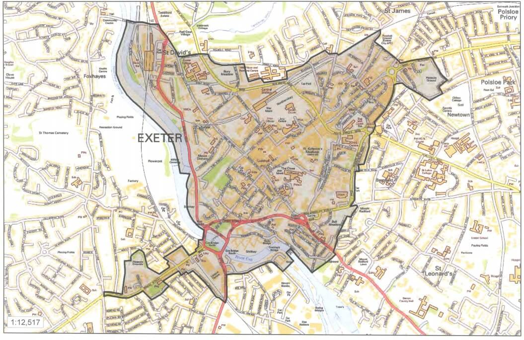 The areas covered by the Exeter PSPO.