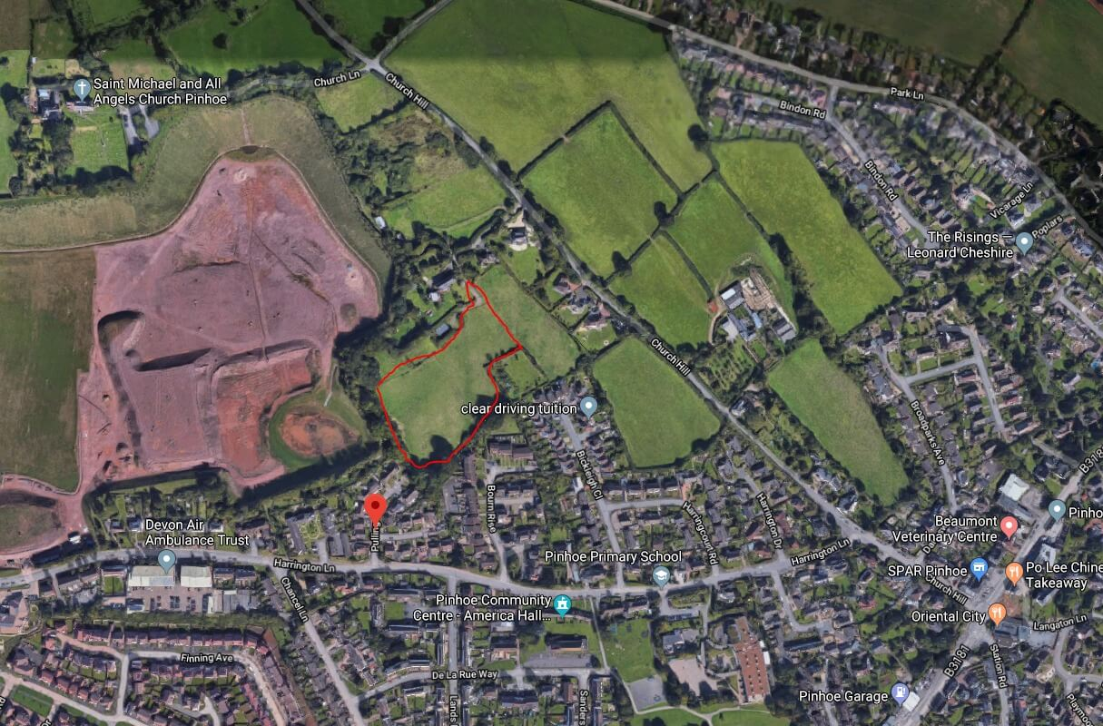 In red, a rough outline of the proposed development site. Image: Google Maps