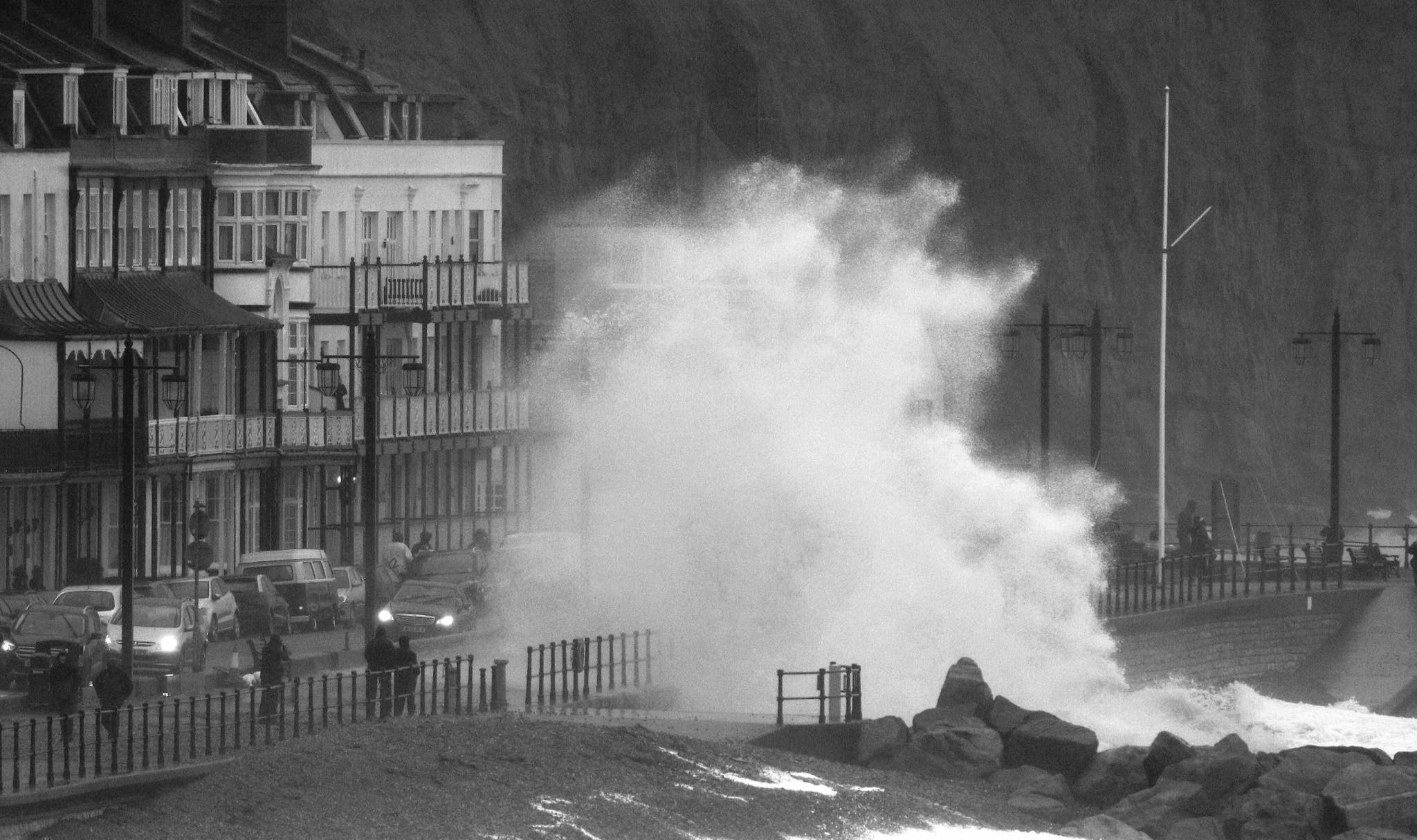 Storm Dennis: Huge waves crash into Sidmouth seafront. Picture: Simon Horn LRPS