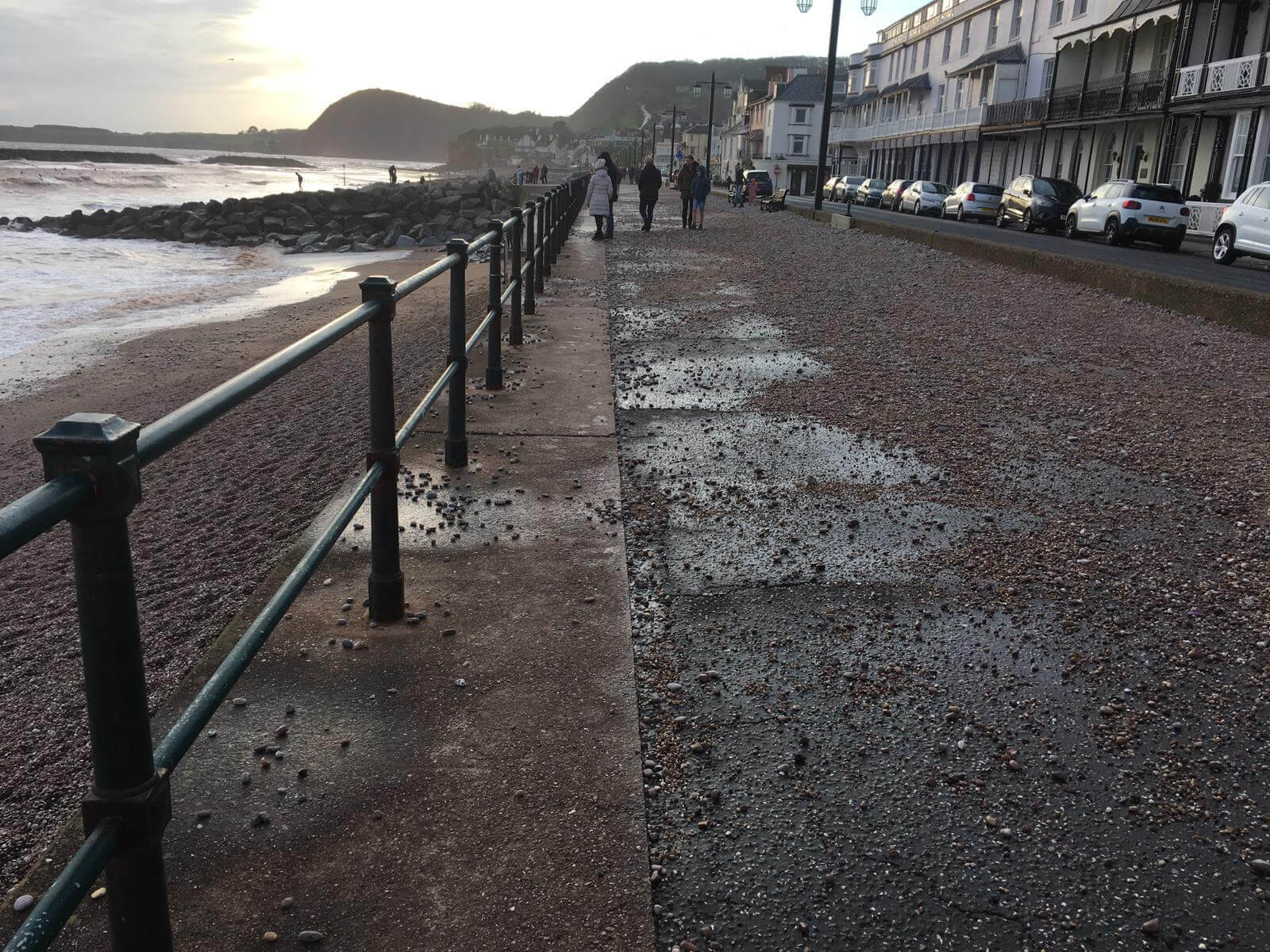 The glass sea wall on Sidmouth seafront during Storm Dennis. Image: Daniel Clark