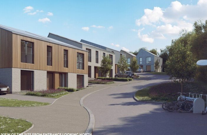 An artist's impression of the zero-carbon homes proposed for Pinhoe in Exeter.