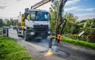 Devon: A so-called 'dragon patcher' which can repair a pothole in just two minutes using flames and a bitumen emulsion Picture: Hampshire County Council