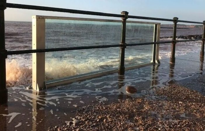 The glass test panel on Sidmouth seafront this week after Storm Ciara. Picture: East Devon District Council