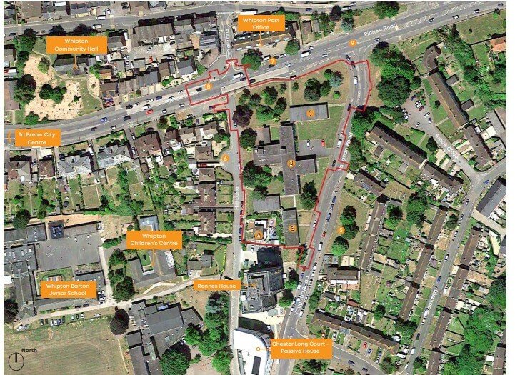 Exeter: In red, the area of the redevelopment of Whipton Barton House into 92 apartments.