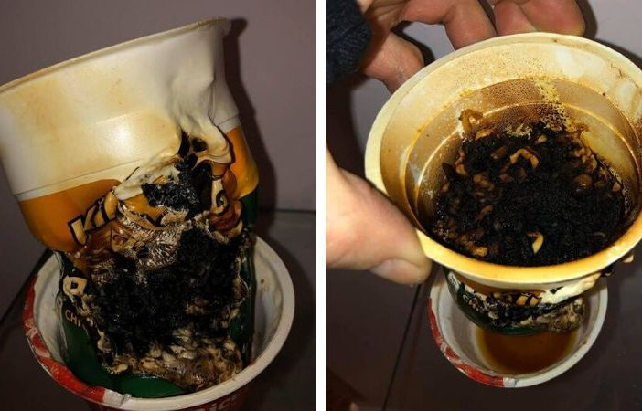 Pot Noodle - the instant snack was somewhat overcooked after it was mistakenly put in the microwave.