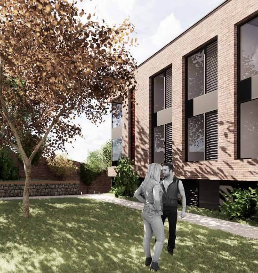 An artist's impression of the Walnut Gardens Exeter student housing scheme.