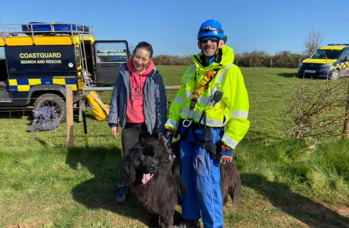 Baloo the Newfoundland dog and his owner following their rescue at Orcombe Point in Exmouth. Picture: Exmouth Coastguard Rescue Team