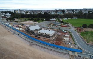 An aerial view of the under-construction Sideshore watersports centre on Exmouth seafront. Image: Devon Contractors