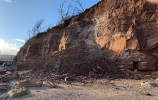 Rubble on East beach following the latest Sidmouth cliff fall. Picture: Stuart Hughes