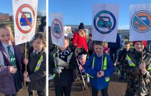 Pupils from Cranbrook Education Campus protest antisocial parking in Tillhouse Road.