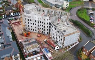 An aerial shot of the under-construction 'extra care' apartments complex off Topsham Road in Exeter.