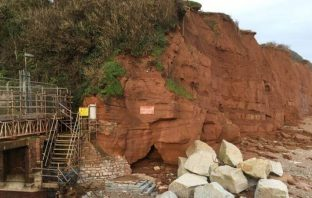 The cliffs at Pennington Point in Sidmouth before today's landslide.
